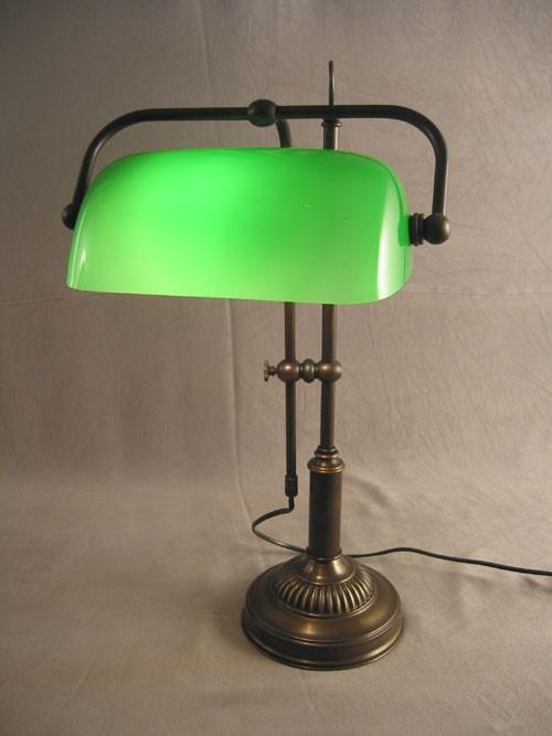 Bankerlamp Messing opal-grün