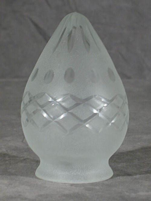 Kreuz/Sternschliff Lampenglas in Zapfenform (6 cm)