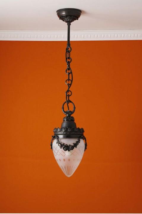 Deckenpendel Messing patiniert Sternschliffglas (15 cm)