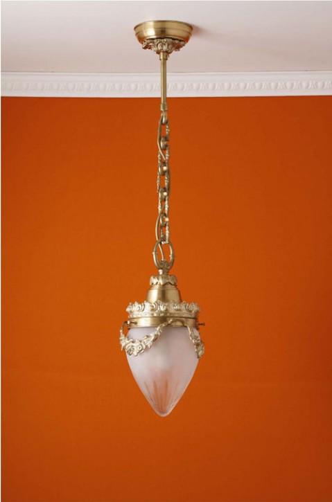 Deckenpendel Messing hell Schliffglas (15 cm)