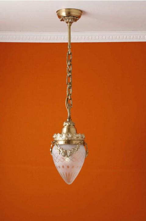 Deckenpendel Messing hell Sternschliffglas (15 cm)
