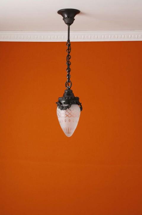 Deckenpendel Messing patiniert Sternschliffglas (10 cm)