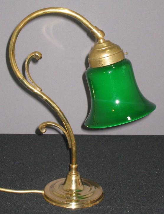 Tischlampe Messing mit grünem Rockschirm