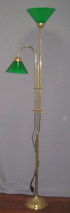 Stehlampe Messing poliert 2flammig mit grünfarbenen Glas