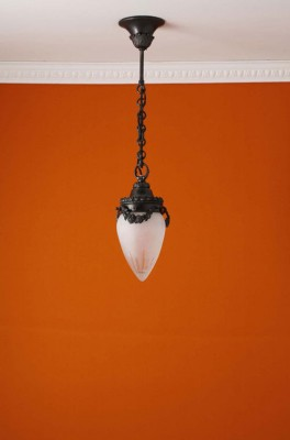 Deckenpendel Messing patiniert Schliffglas (10 cm)
