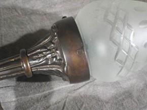 Wandleuchte Messing mit Flammenschirm -Kutscherlampe-
