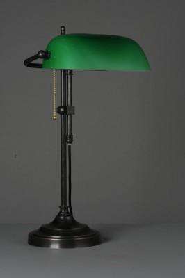 """Bankerlamp  """"Elégance"""" Messing brüniert opal-grün"""