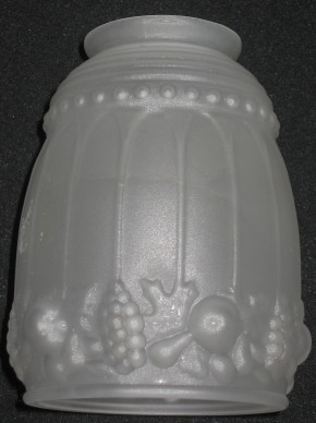 Jugendstil Lampenglas satiniert mit Fruchtmotiven