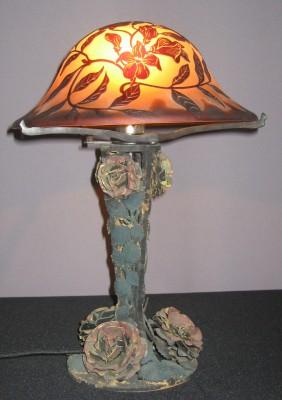 Tischleuchte Jugendstil Rosenfuß Glasschirm