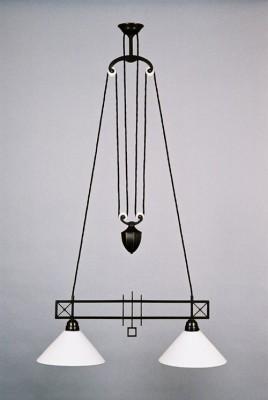 Zuglampe Messing 2flammig Art Deco