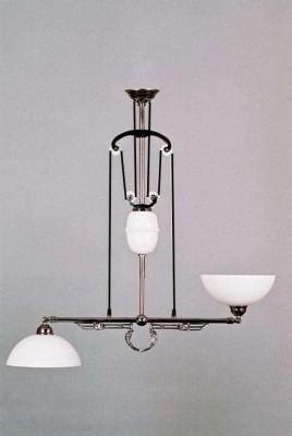 Zuglampe Messing verchromt 2flammig Jugendstil verstellbare Glashalter