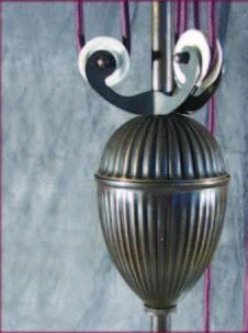 Zuglampe Messing 3flammig Jugendstil verstellbare Glashalter