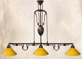 Messing Zugleuchte 3flammig Billardlampe Glashalter verstellbar