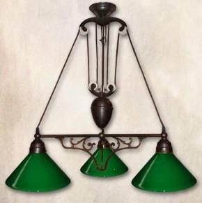 Jugendstil Zuglampe Messing 3flammig