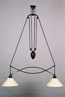Zuglampe Messing 2flammig Jugendstil