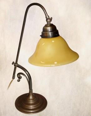 Tischlampe Messing verstellbar beigefarbener Glasschirm