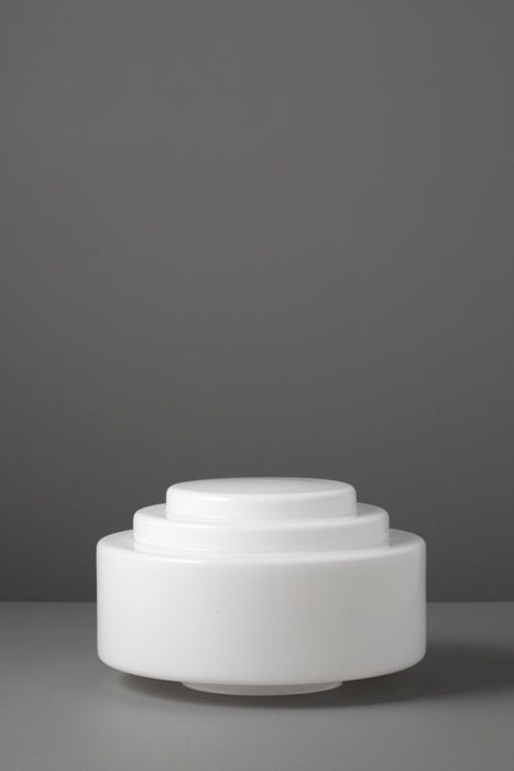 Lampenglas Bauhaus opal-weiß Stufen Ø 24 cm
