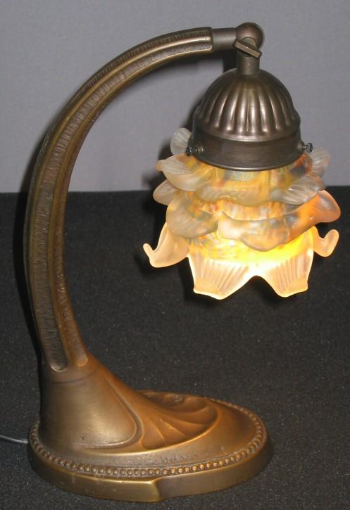 Tischlampe Messing mit Pate de Verre Glas
