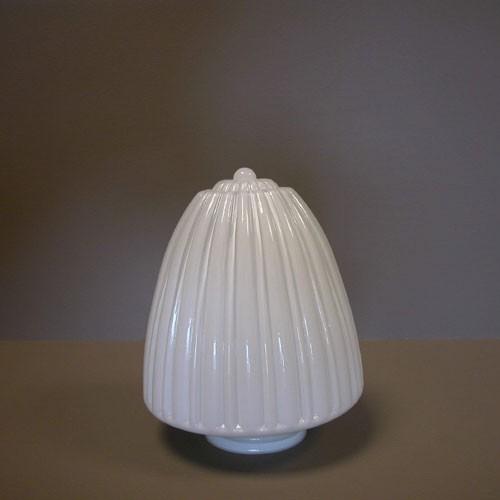 Lampenglas Zapfenform gerieft opal-weiß (20 cm)