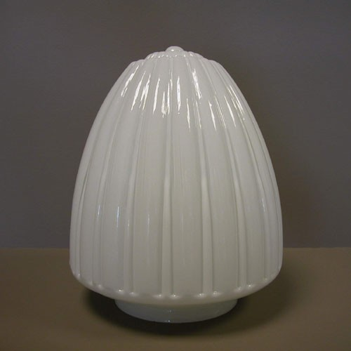 Lampenglas Zapfenform gerieft opal-weiß (30 cm)