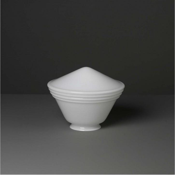 Lampenglas Trichter mit Ringen opal-weiß (20 cm)