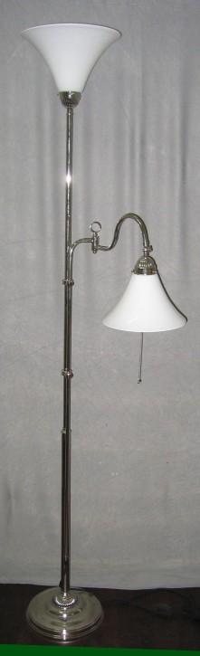 Stehlampe Messing verchromt 2fl. mit Gelenk opal-weiße Trichter