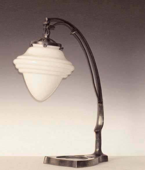 """Tischlampe Messing Bogen brüniert mit """"Saturnschirm"""""""