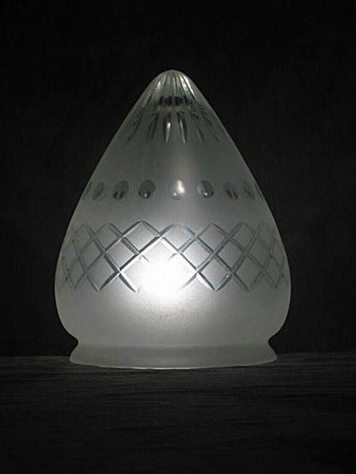 Kreuz/Sternschliff Lampenglas in Zapfenform (20 cm)