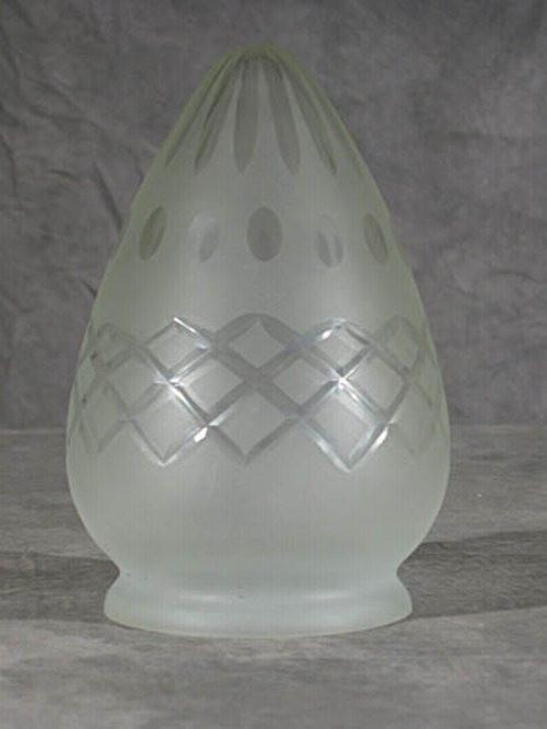 Kreuz/Sternschliff Lampenglas in Zapfenform (8 cm)