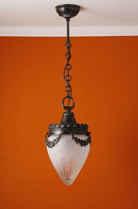 Deckenpendel Messing patiniert Schliffglas (20 cm)