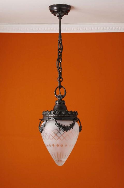 Deckenpendel Messing patiniert Sternschliffglas (20 cm)