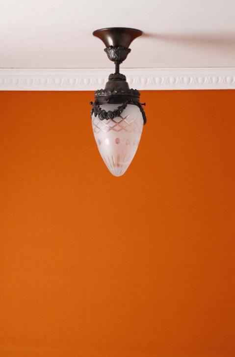 Deckenhalterung Messing brüniert Sternschliffglas (10 cm)