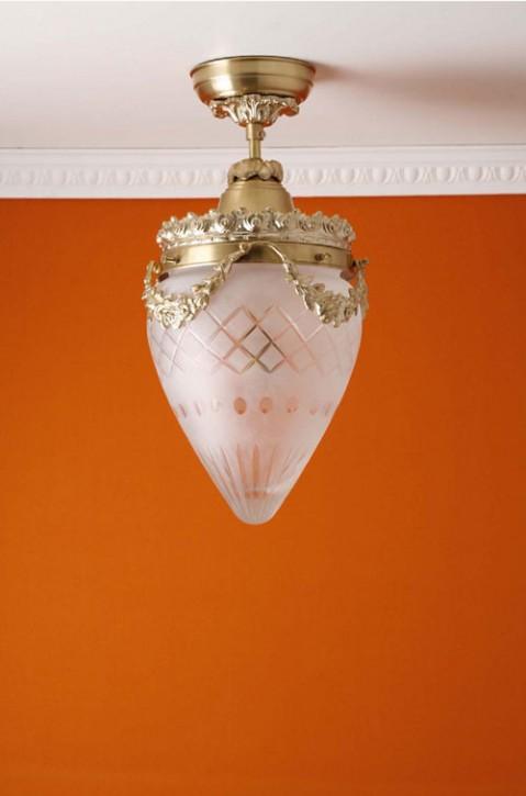 Deckenhalterung Messing hell Sternschliffglas (20 cm)