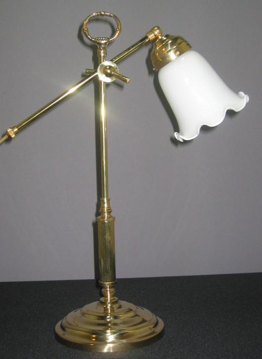 Tischlampe Messing mit weißem Schirm und Wellenrand