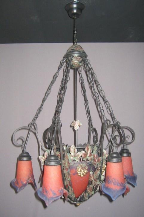 Deckenlampe 7flammig Eisen mit PDV-Glas