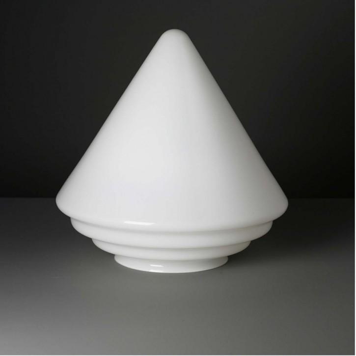 Lampenglas Trichter mit Stufen opal-weiß (30 cm)