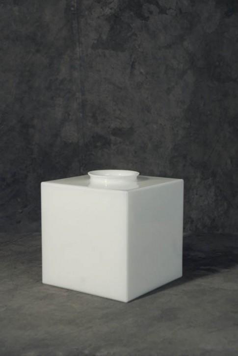 Lampenglas Würfel opal-weiß