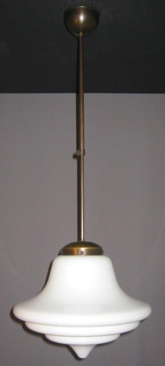 Deckenpendel Bauhaus verstellbar brüniert, Glasschirm abgestuft opal