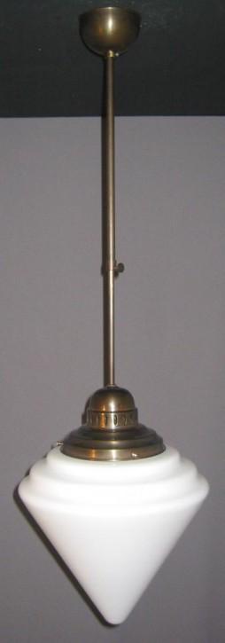 Deckenpendel Bauhaus brüniert mit Kegelschirm opal