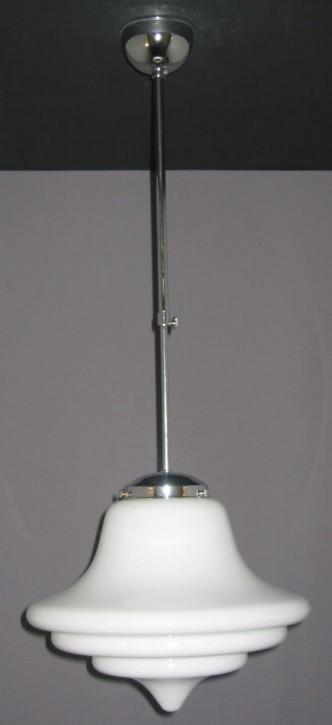 Deckenpendel Bauhaus verstellbar verchromt, Glasschirm abgestuft opal