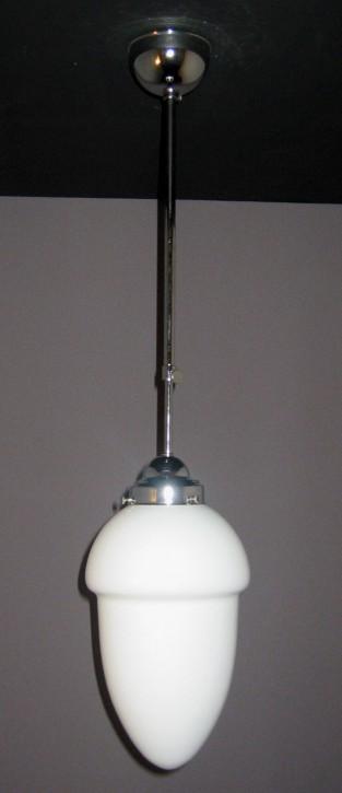 Deckenpendel Bauhaus verchromt mit abgestuftem Tropfenglas