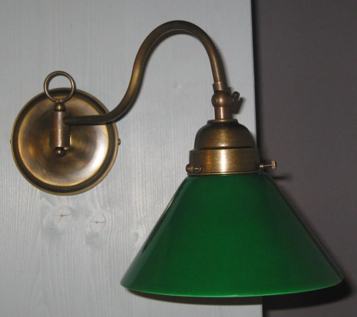 Wandlampe mit Gelenk 1flammig grüner Glasschirm