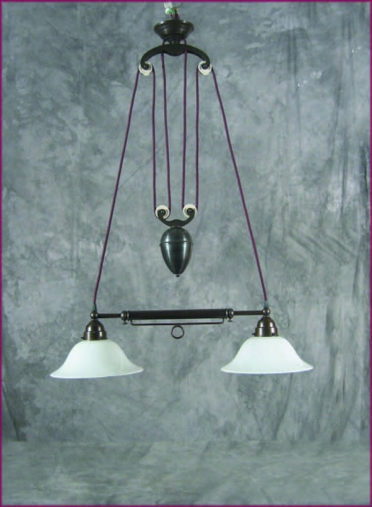 Zuglampe Messing 2flammig ausziehbar Jugendstil