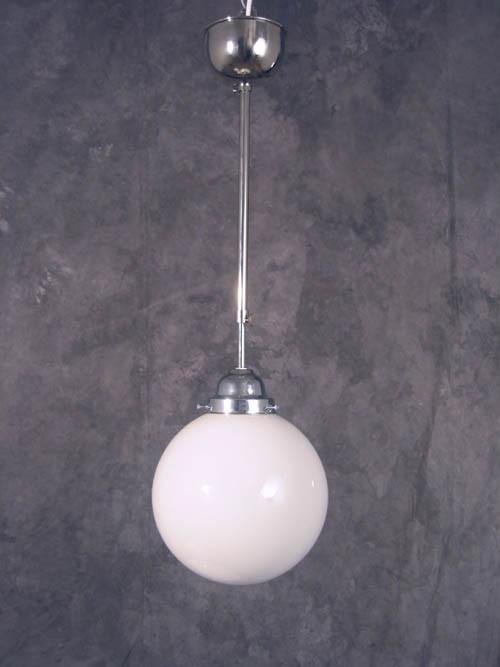 Deckenlampe Bauhaus Stange Chrom verstellbar, Kugel (20 cm)