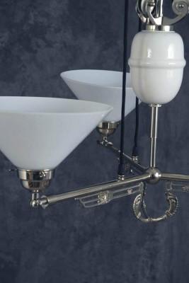Zuglampe verchromt 3flammig Jugendstil verstellbare Glashalter