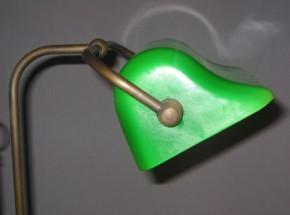 Bankerlamp Messing Wellenschirm opal-grün