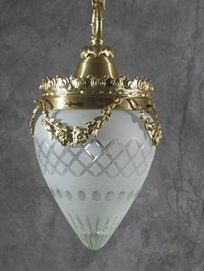 Deckenpendel Messing hell Sternschliffglas (20 cm)