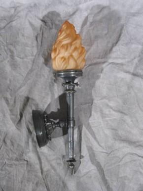 Messing-Fackel-Leuchte mit Flammenschirm