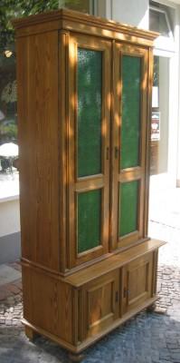 Sammlerschrank Weichholz Bücherschrank grüne Verglasung