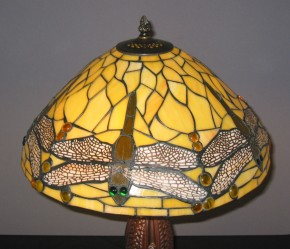 Tiffany Tischleuchte Dragonfly gelb